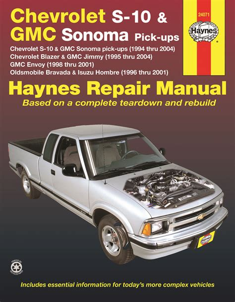 car repair manual download 2004 chevrolet s10 free book repair manuals chevrolet s 10 gmc sonoma pick ups 94 04 inc s 10 blazer gmc jimmy 95 04 gmc envoy