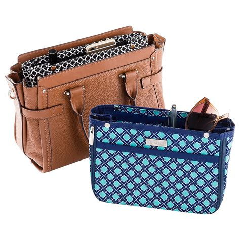 Bag Organizer in bag navy aqua tile purse organizer the container store