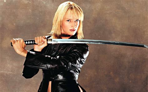 uma thurmans hair in kill bill kill bill action crime martial arts warrior weapon katana