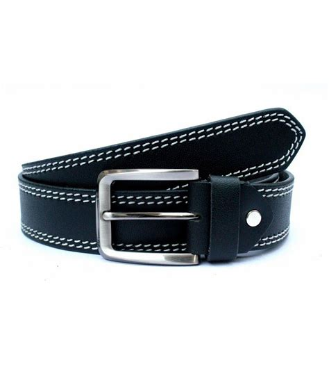 tops black coloured side stitched leather belt buy