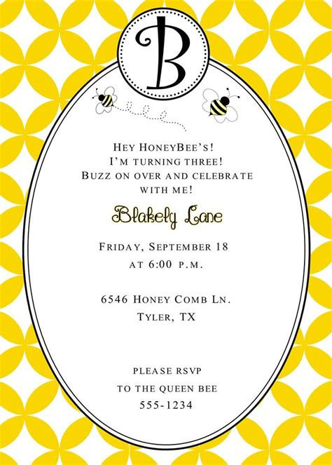dandi designs bumble bee birthday invitation