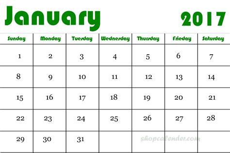 January 2017 Printable Calendar Pdf