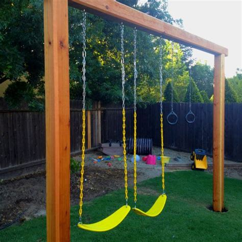 basic wooden swing set our new swing set 2 6x6x10 1 6x6x12 sink them in the