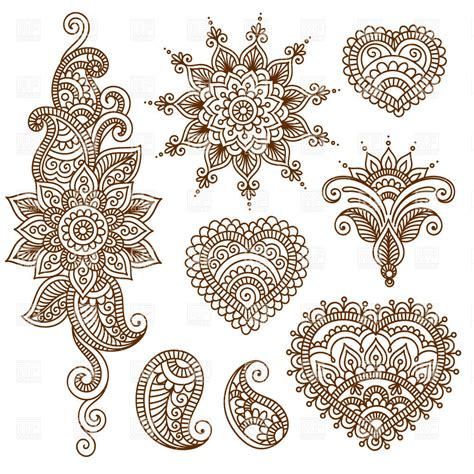indian ethnic tracery set of mendi style ornaments