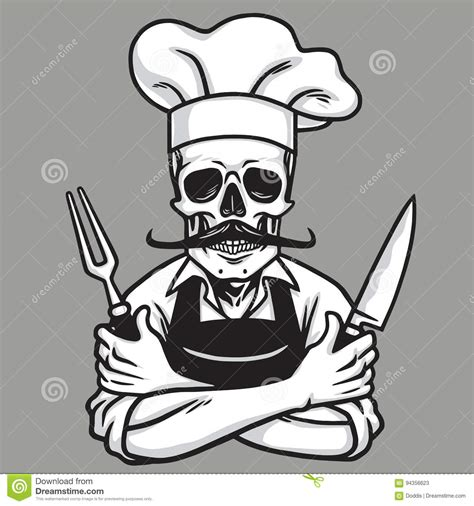 tattoo chef cartoon dead skull chef grinning with fork knive and hat vector