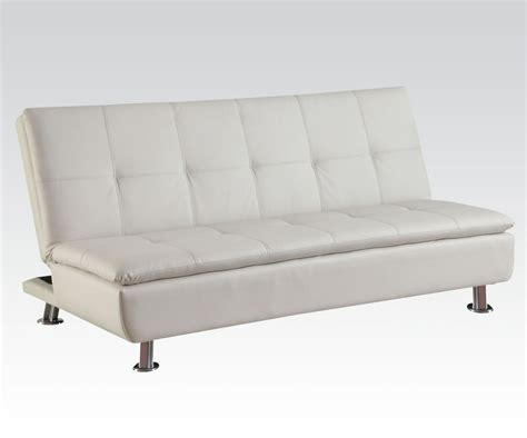 white leather futon derrick white fuax leather adjustable futon sofa