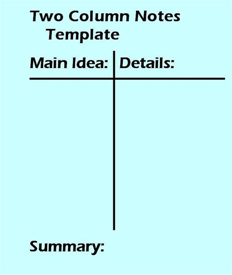 two column notes template 2 column notes template worksheet two column notes
