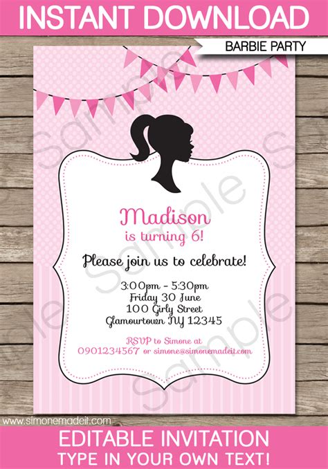 Barbie Party Invitations Template Birthday Party Birthday Invitation Editable Templates
