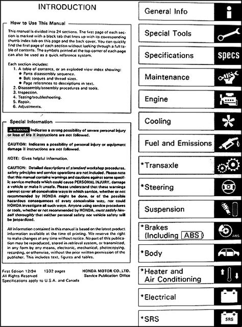 service manuals schematics 1995 honda odyssey user handbook 1995 honda odyssey repair shop manual original