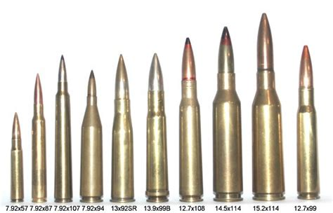 7 92x57mm 8mm mauser to 50 bmg ammo