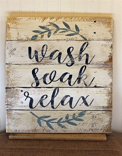 printable quotes for wooden signs rustic pallet wall art wash soak relax wood bathroom