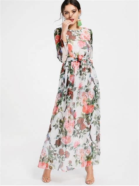 Flores Maxy 2018 floral print sleeve belted maxi dress in white