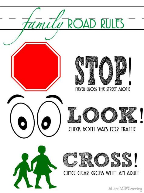 printable road safety posters teaching road safety to toddlers preschoolers