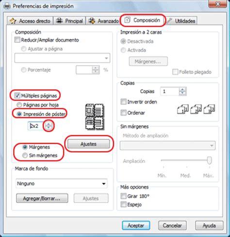 imprimir imagenes en varias hojas impresi 243 n de p 243 ster s 243 lo en windows