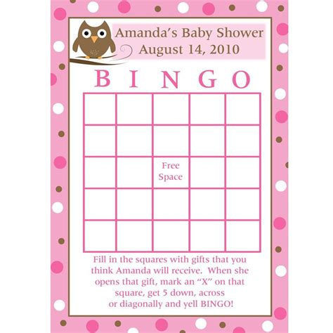 free baby shower bingo card template printable baby shower bingo cards pink baby owl design
