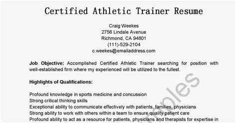 Certified Athletic Trainer Sle Resume by Resume For Athletic Trainer 28 Images Athletic Trainer Resumes Sales Trainer Lewesmr Best