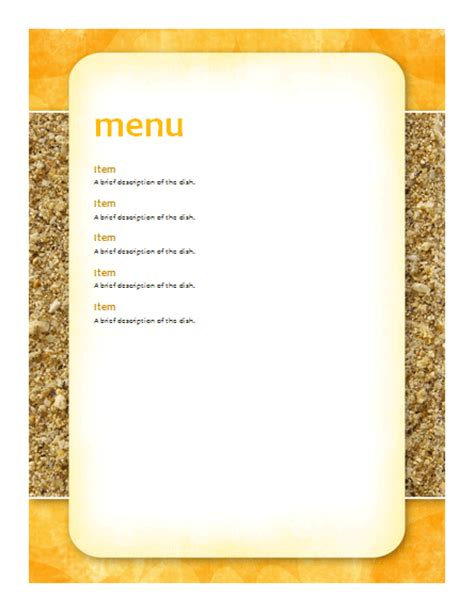 menu templates free for word new calendar template site