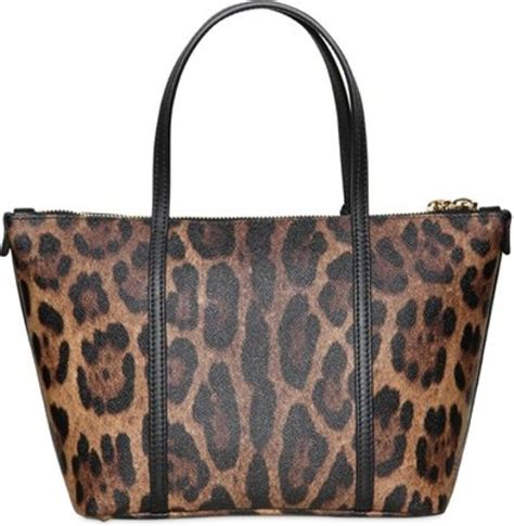 dolce gabbana miss escape leopard print tote bag in