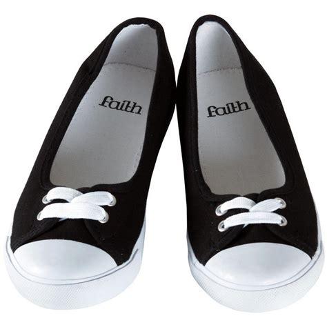 flat pumps shoes uk faith black canvas flat plimsoles ballet pumps