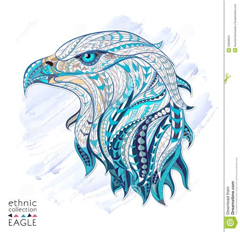 patterned head of eagle stock vector image 53669634