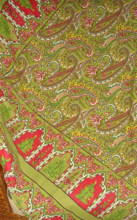 april cornell christmas tree paisley red green fabric
