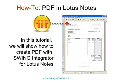 pdf in lotus notes applications
