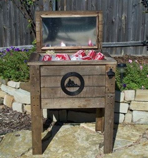 rustic wooden backyard cooler gadgetking