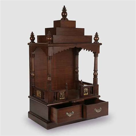 moorni teak wood temple in walnut brown el 020 147