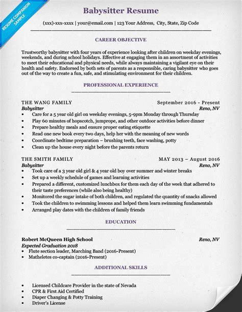 Babysitting Resume Exles by Resume Sle Writing Tips Resume Companion