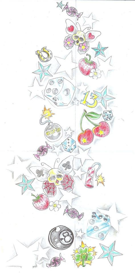 girly star tattoo designs girly backpiece dices cherry by 2face deviantart