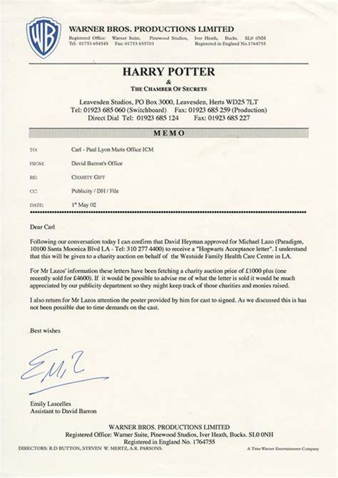 Harry Potter Acceptance Letter Size D Radcliffe Quot Harry Quot Hogwarts Acceptance Letter From Harry