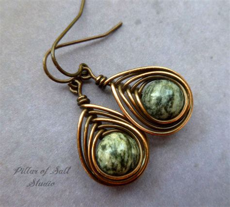 Handcrafted Wire Jewelry - copper earrings wire wrapped jewelry from pillar of salt