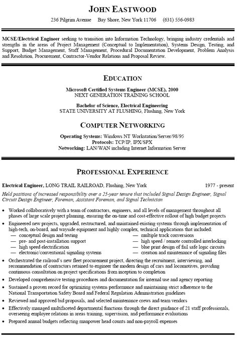 Resume Templates Career Change Resume Sle For Information Technology