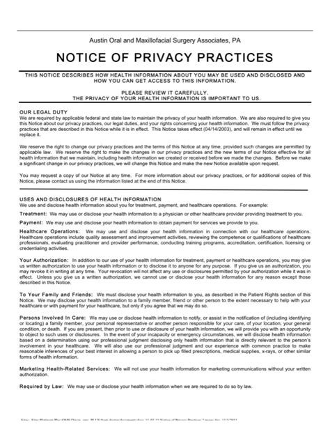 notice of privacy practices template notice of privacy policy surgery