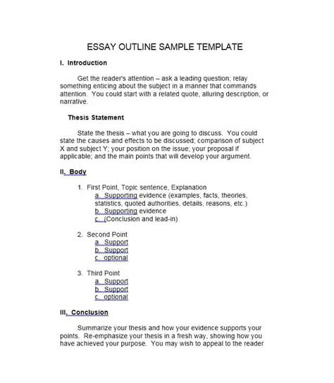 37 Outstanding Essay Outline Templates Argumentative Narrative Persuasive Essay Outline Template
