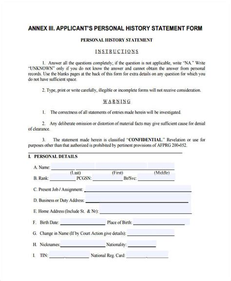 6 personal statement forms free sle exle format