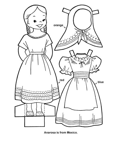 printable cutout paper doll sheet hispanic heritage art