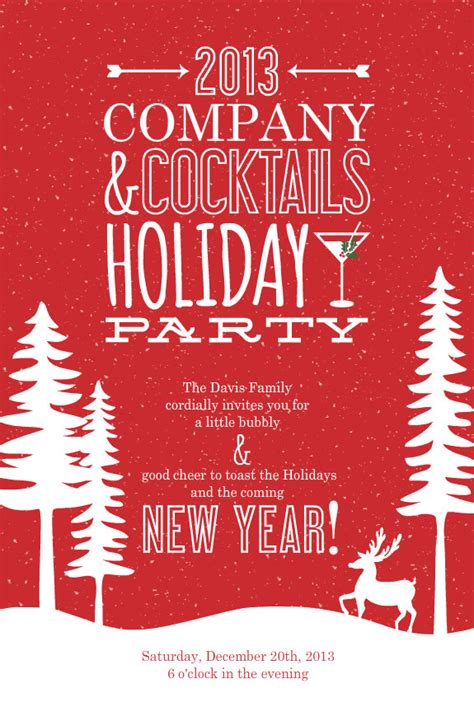 Happy Wording Printable Christmas Party Invitation Ideas
