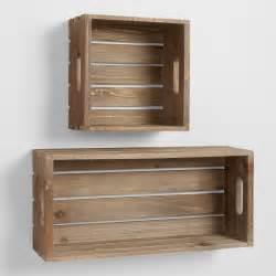 Bathroom Towel Display Ideas wood crate wall storage world market