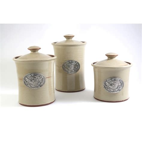 Stoneware Kitchen Canisters by Stoneware Canister Set Bird Motif