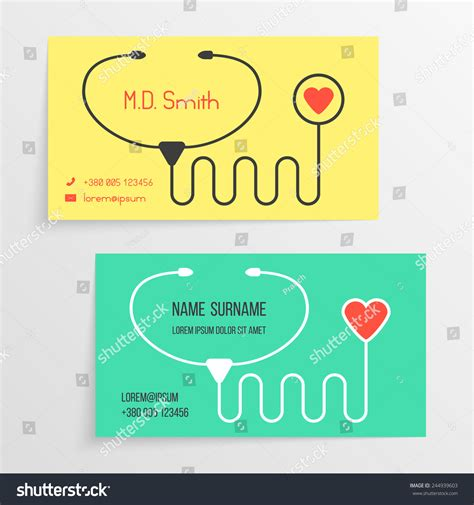 Doctor Card Template Stethoscope Icon Concept Stock Vector 244939603 Shutterstock Doctor Id Card Template