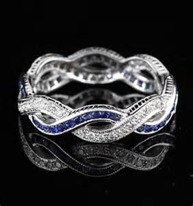 Infinity Ring Band Vintage Style 18k White Gold Infinity Sapphire