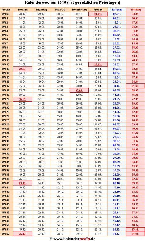 Kalender 2016 Kalenderwochen Kalenderwochen 2016 Mit Vorlagen F 252 R Excel Word Pdf
