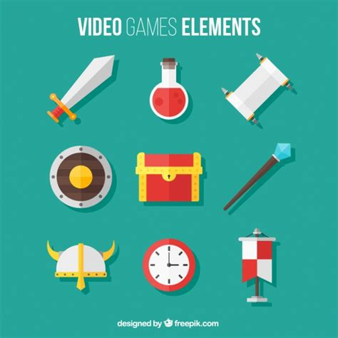 game design vector pack of video game elements in flat design vector free