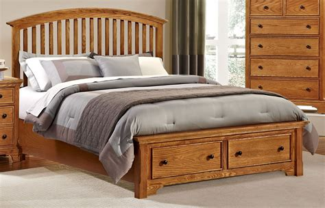 Forsyth Medium Oak Arched Storage Bedroom Set From Vaughan Medium Oak Bedroom Furniture