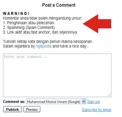 cara membuat kotak twitter di blog cara membuat pesan di atas kotak komentar blog