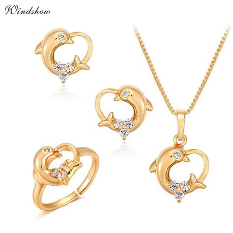 Kalung Dolphin Gold children baby jewelry sets yellow gold plated