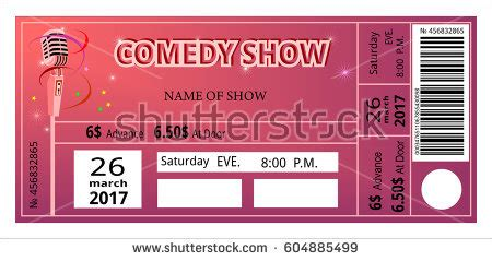 Comedy Show Ticket Template Ticket Comedy Show Fun Concert Invitation Stock Vector Royalty Free 604885499 Shutterstock