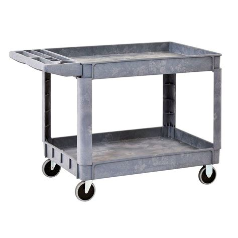 sandusky heavy duty plastic utility cart 2 shelves the