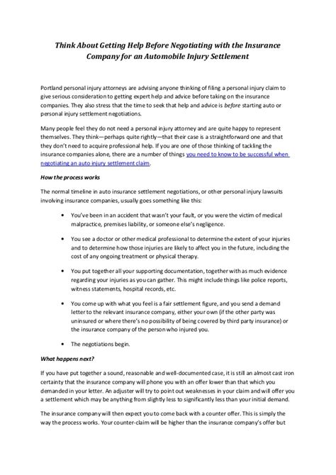 Insurance Contract Negotiation Letter Template Negotiating Your Own Settlement With The Auto Insurance Company